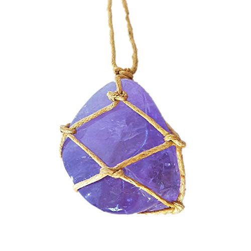 Natural Raw Amethyst Crystal Pendant Necklace Reiki Chakra Healing Pendant Treatment Stone with Hand-Woven Rope in Random Color