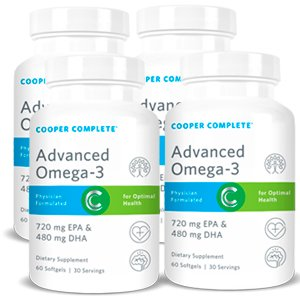 Supply 120 Day (Cooper Complete - Advanced Omega 3 Fish Oil (1200mg) 720 EPA + 480 DHA - 120 Day Supply (4 Bottles))