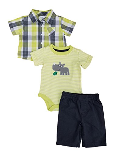 Little Wonders Infant Boys 3 Piece Baby Outfit Green & Gray Plaid Shirt Pants & Rhino Bodysuit]()