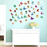 Edge Decor 'Multicolor 3D Butterflies' Wall Sticker 1 Combo of 19 Pieces for Kids Room Decoration (PVC Vinyl, 21 cm x 29.7 cm)