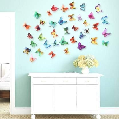 Edge Decor 'Multicolor 3D Butterflies' Wall Sticker 1 Combo of 19 Pieces for Kids Room Decoration...
