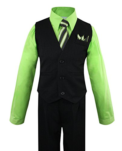 Tie Shirt Pants - Luca Gabriel Toddler Boys' 4 Piece Pinstripe Vest Shirt Tie Pant and Hanky Set Lime - 3t
