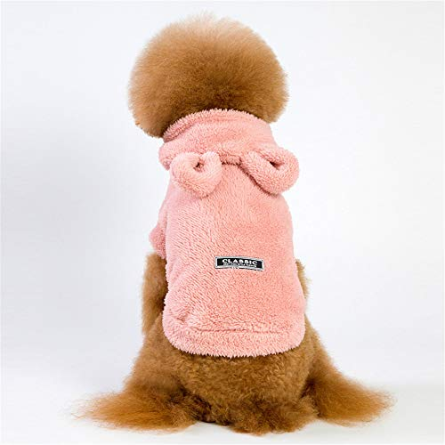 Jdogayncat Pet Clothing, Autumn and Winter Season Bear Ears Hooded Thickening Fleece Dog Clothes, Small Dog Solid Color Style -