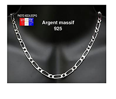 a0f35547a Grosse chaine pour homme en argent massif maille figaro 1+1 6mm 55cm ...