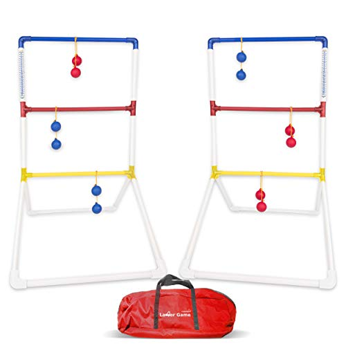 Ladder Toss Ball Game Set - Fun Game for Yard, Lawn, Backyard, Party, Indoor, Outdoor Games for Family and Friends - 6 Toss Bolos with Thick Rope - Built-in Score Tracker - with Backpack Bag