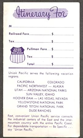 Union Pacific Rr Itinerary Folder 1959 Calendar At Amazon S