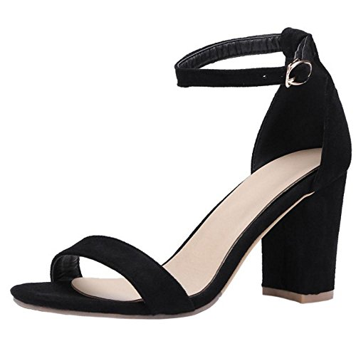 Femmes Bout Black 4 Sandales Classique Taoffen Ouvert dUxHHq