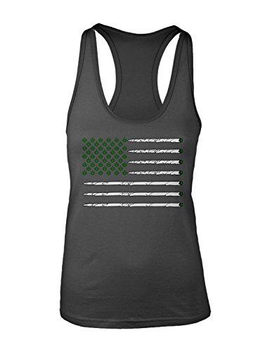 Manateez Womens United States Of Cannabis Marijuana Flag Racer Back Tank Top Medium Charcoal