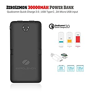 Ultra High Capacity Power Bank ZeroLemon ToughJuice 30000mAh 7A Output Portable Charger with Qualcomm Quick Charge 2.0, 5-Ports USB C Rugged Battery Pack for MacBook, Galaxy, iPhone, Switch and More