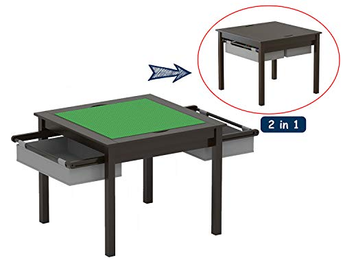 Train Playboard Table - UTEX 2 in 1 Kids Construction Play Table with Storage Drawers and Built in Plate (Espresso with Grey Drwaer)