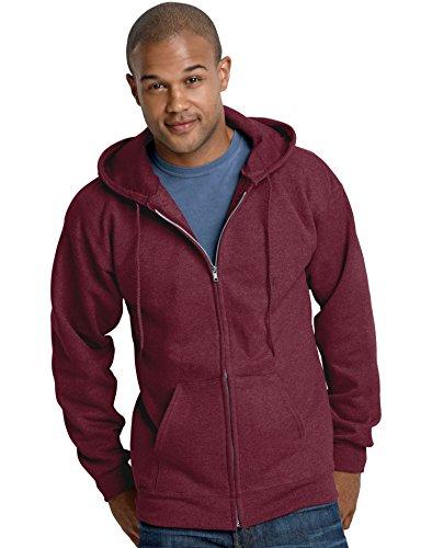 Basic Full Zip Hoody Sweatshirt (Hanes Adult Ultimate Cotton Full Zip Hood, Maroon, XX-Large)