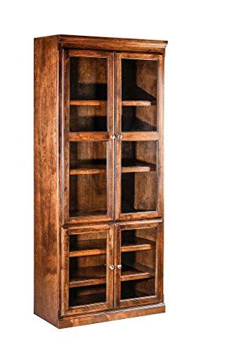 Mission Alder Bookcase w/ Full Glass Doors Unfinished Oak
