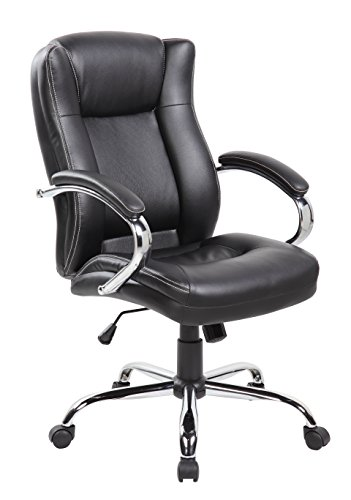 United Office Chair Executive Mid-back PU&PVC Leather Office Chair with Thick Padded Back, Seat and Armrests UOC-9042-2-BK