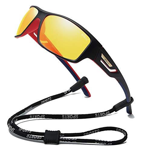 Bevi Polarized Sports Sunglasses TR90 Unbreakable Frame for Men Women Running Cycling Baseball Yellow 2518C5