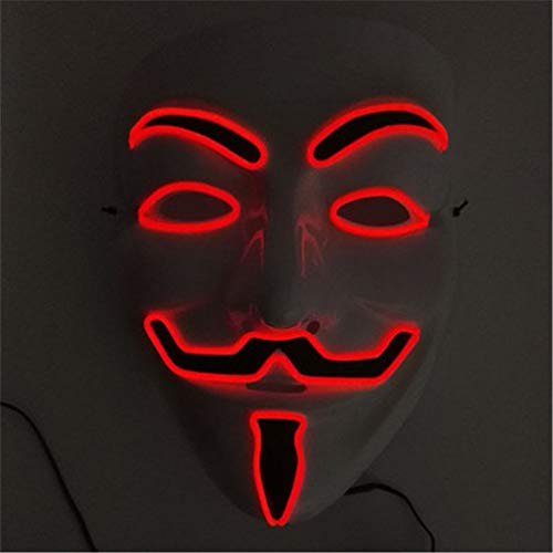 EL Mask Flashing Cosplay LED MASK Halloween Costume Anonymous Mask for Glowing Dance Carnival Party Masks(Random ratten) ()
