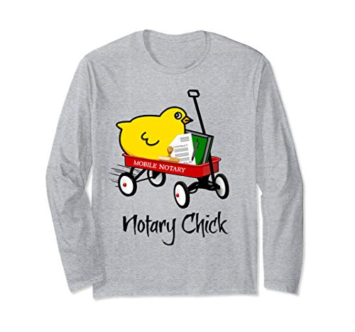 Mobile Notary Chick Riding in Red Wagon with Contract Seal Notarial Journal Long Sleeve T-Shirt