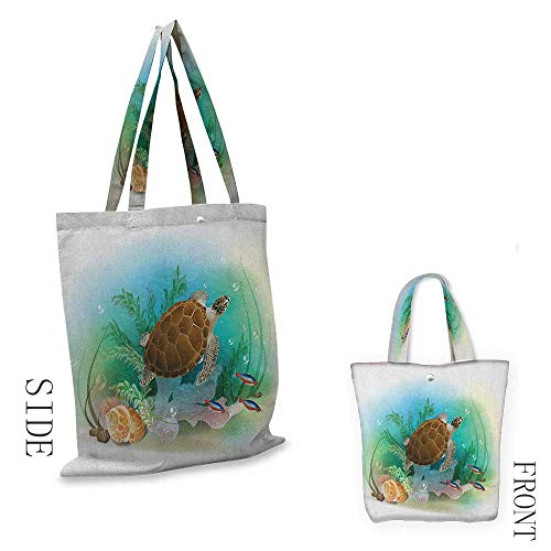 Heavy Duty Shopping Tote Bag, Soft and Foldable Ocean Sea Turtle Swims in the Ocean Tropical Underwater World Aquarium Illustration Print Shoulder Tote and Handbag