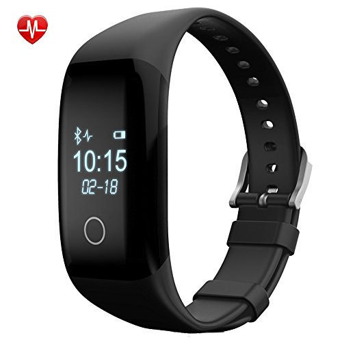 IP67 Waterpoof Heart Rate Monitor Bluetooth Activity Tracker with BMI Management,Tracking Steps,Distance,Calories Burned,Fat Burned Functions, Sleep Monitor for Android IOS(Black) (Golf Alarm Clock)