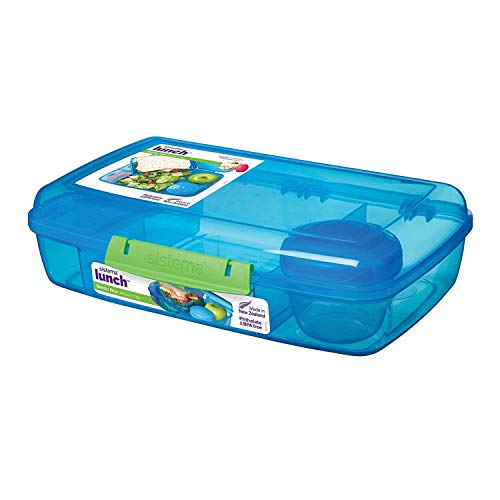 Sistema 41671 Lunch Collection Bento Box Color, Large, Assorted Solid Contrasting Klips