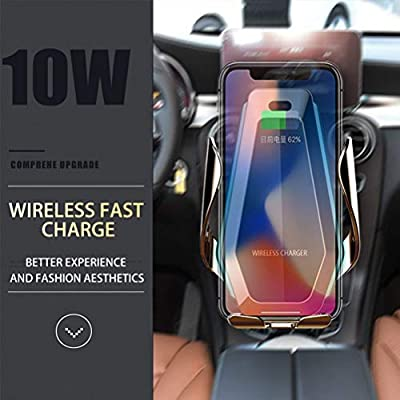 Miline Wireless Charger Car Mount Auto Clamping 10W Qi Fast Charging Cell Phone Holder,Universal Air Vent Clip,Dashboard,Compatible for iPhone 11 Pro Max XS XR X 8 Plus,Samsung Galaxy S10+ S9 etc.