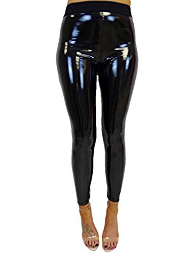 Women's Faux Leather Wet Look Shiny Metallic High Waist Legging Pants Trousers -