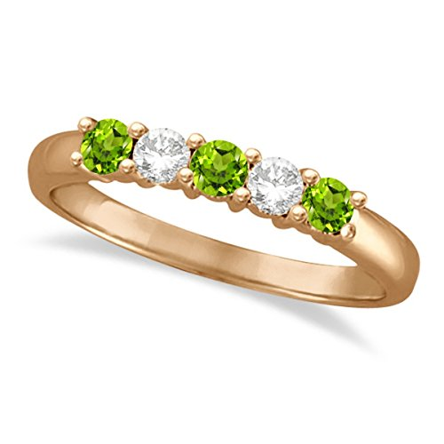 - Diamond and Peridot Five Stone Ring Anniversary Band For Women 14k Rose Gold (0.67ctw)