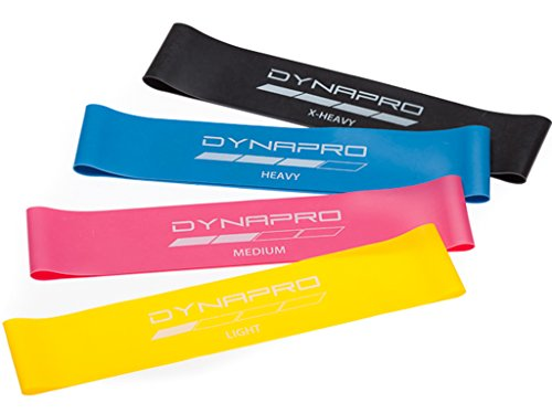 DYNAPRO Resistance Bands- Mini Precision Loop Exercise Bands with E-Quickstart Workout Guide (Pink-Yellow-Blue-Black) Perfect for any Home Fitness (Horizontal Exercise Machine)