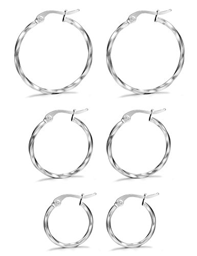 LOYALLOOK 3 Pairs Stainless Steel Twisted Small Hoop Earrings Set for Women 15-25mm Silver Tone ()