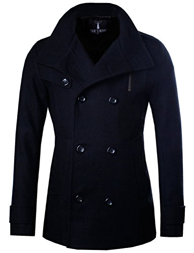 Tom's Ware Mens Stylish Fashion Classic Wool Double Breasted Pea Coat TWCC08-BLACK-US M - Double Breasted Peacoat Jacket