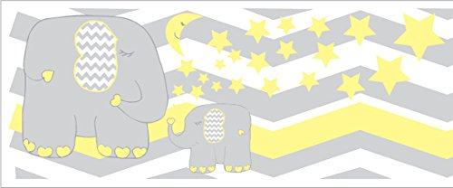 Yellow Elephant Border Wall Decals/Jungle Safari Themed Chevron Border with Yellow Moon and Stars Nursery Decor (Yellow Elephant Border) ()