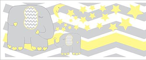 Yellow Elephant Border Wall Decals/Jungle Safari Themed Chevron Border with Yellow Moon and Stars Nursery Decor (Yellow Elephant -