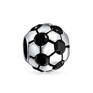 Bling Jewelry Balón De Fútbol Negro Cz 925 Plata Deporte Abalorio