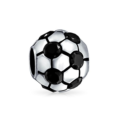 Black CZ White Soccer Ball Mom Football Player Sports Charm Bead For Women Sterling Silver Fit European - Football Jets Charm