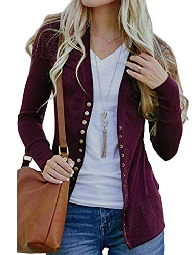 Sundray Women's Knitted Long Sleeve Cardigans Sweater Tops with Rivet Buttons Red XL