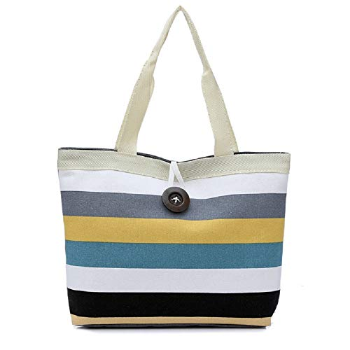 Crossbody Shoulder Bag,AfterSo Lady Colored stripes Shopping Handbag Shoulder Canvas Bag Tote Purse KH (Khaki)]()