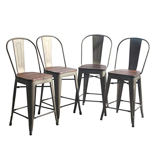 YongQiang Metal Barstools Set of 4 Indoor Outdoor Bar Stools High Back Dining Chair Counter Stool Cafe Side Chairs with Wooden Seat 26