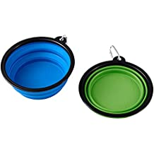 Mega Pet Collapsible Dog Bowl Feeder (2 Pack) Silicone Travel Pet Bowl Foldable Expandable Dish for Food Water - BPA Free Dishwasher Safe, Portable Foldable Travel Bowl, Camping Bowls for Large Medium