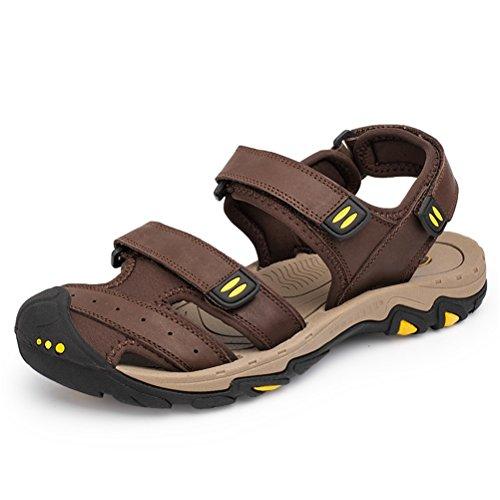 Shoes Sandali Pescatore Escursionismo Scarpe Pelle Spiaggia Acqua Estivi Trekking HN da Sportivi All'aperto Uomo brown Dark Mare Piscina HBxq15qdw