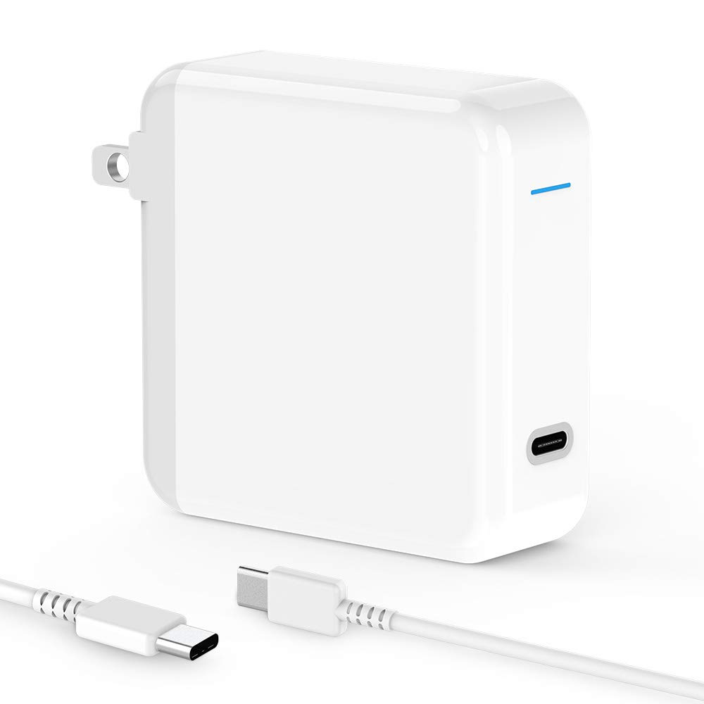 T ATHINK 61W USB C Charger for MacBook Pro 13 inch 2016, 2017, iPad Pro 2018, Thunderbolt 3 ports USB C Power Adapter & Power Delivery Supply for Any Type C Laptop, Tablet, Cellphone[UL Listed]