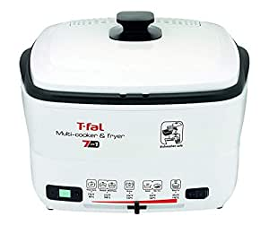 T-fal FR4900 7-in-1 Multi-Cooker and Deep Fryer with Nonstick Removable Bowl and Timer, 2.2 Pound, White