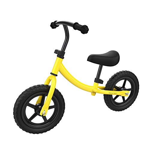 TRIPLE TREE Balance Bike for Toddlers and Kids, Kids Training Bicycle with Inflation-Free EVA Tires, Adjustable Handlebar and Seat for Toddlers 2 Years to 5 Years, Light Yellow Color