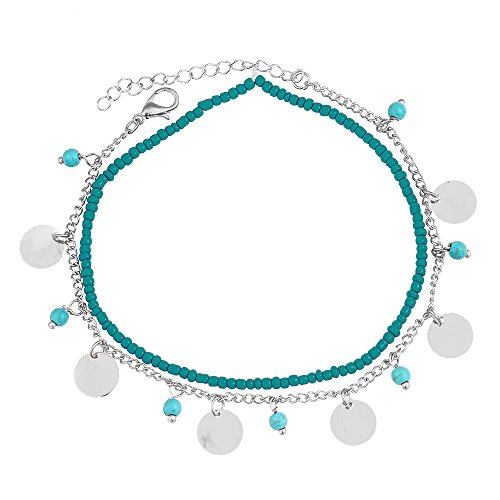 Sterling Silver Sequin - GUFER Turquoise Beads Anklets Silver Sequins Tassels Pendant Foot Chain Summer Beach Jewelry (Silver 1)