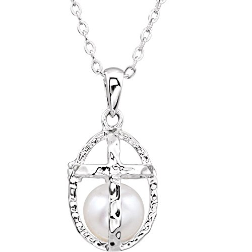Rhodium Plate Sterling Silver Pearl and Cross 'Commitment' Necklace, 18'' by The Men's Jewelry Store (for HER)