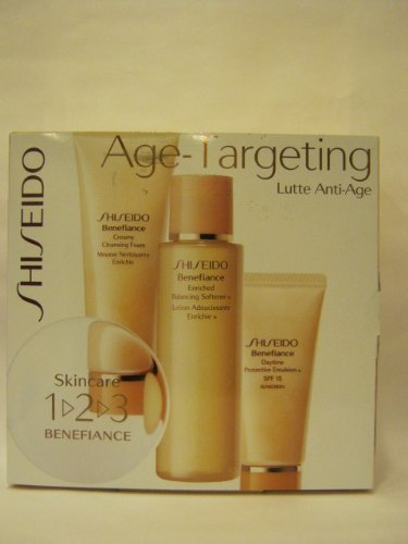 Shiseido – Age Targeting – 3 Pc the Skincare 1-2-3 Benefiance Set Kit: Creamy Cleansing Foam 2.7oz + Enriched Balancing Softener Lotion 3.3oz + Daytime Protective Emulsion Spf 15 + Sunscreen 1oz
