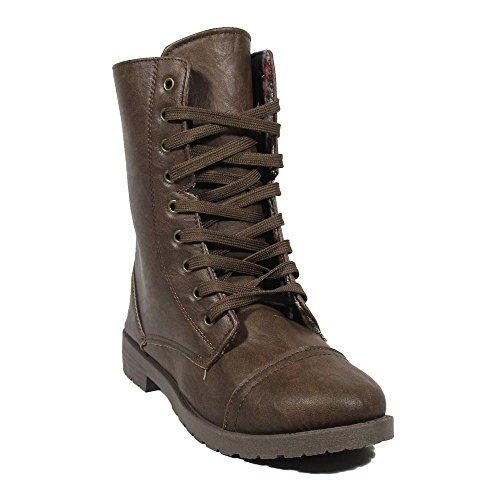 Brown Mid Toe 6 Almond Military Calf Synthetic Fashion Boots Dress Millie WOMENS BLUE 4SqgZ