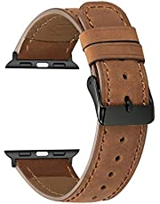 Replacement Bands for Apple Watch Series 5/4/3/2/1 42mm, 44mm, Leather Wristband Strap Bracelet (Brown)