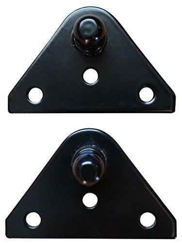 - Small Flat Lift Support Bracket - Powder Coated Black 14 Gauge Steel - 10mm Ball Stud - Gas Shock Mounting - Lid Strut Prop Spring Mount