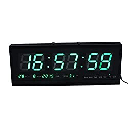 Large Digital Led Wall Modern Clock Timer with Calendar Temperature for Living Room, Office, Meeting Room - 18 (Green)