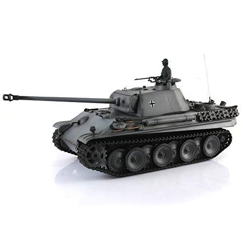1/16 Scale Remote Control RC Tank, HengLong 1/16 Scale Gray German Panther G Type Plastic Version RC RTR Tank Model 3879