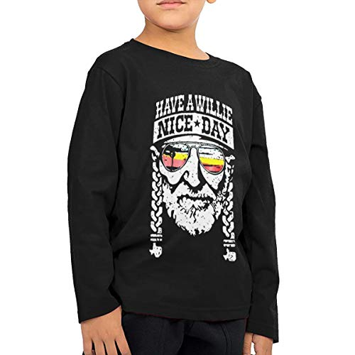 Fional Fashion Printing Children's Long Sleeve T-Shirt Have-A-Willie-Nice-Day Toddler/Kids Boys Long Short Sleeve2-7 Years Black